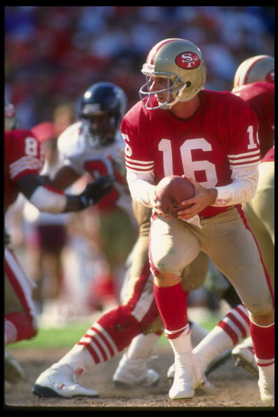 23 Sep 1990:  Quarterback Joe Montana #16 of the San Francisco 49ers stares into the backfield as he turns to hand off the football to his running back during a play in the 49ers 19-13 victory over the Atlanta Falcons at Candlestick Park in San Francisco,