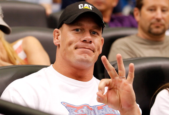 ST. PETERSBURG - OCTOBER 04:  Celebrity John Cena takes in Game Four of the American League Division Series  between of the Tampa Bay Rays and the Texas Rangers at Tropicana Field on October 4, 2011 in St. Petersburg, Florida.  (Photo by J. Meric/Getty Images)