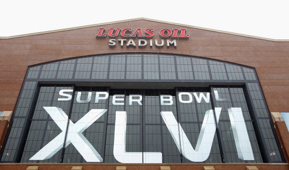 INDIANAPOLIS, IN - FEBRUARY 04:  A general exterior view of Lucas Oil Stadium decorated with official Super Bowl XLVI on February 4, 2012 in Indianapolis, Indiana. Super Bowl XLVI will be played between the New York Giants and the New England Patriots.  (Photo by Ezra Shaw/Getty Images)