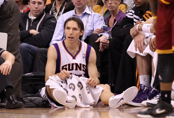 PHOENIX, AZ - JANUARY 12:  Steve Nash #13 of the Phoenix Suns during the NBA game against the Cleveland Cavaliers at US Airways Center on January 12, 2012 in Phoenix, Arizona.  NOTE TO USER: User expressly acknowledges and agrees that, by downloading and or using this photograph, User is consenting to the terms and conditions of the Getty Images License Agreement.  (Photo by Christian Petersen/Getty Images)