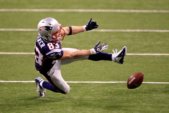 INDIANAPOLIS, IN - FEBRUARY 05:  Wes Welker #83 of the New England Patriots drops a pass in the fourth quarter against the New York Giants during Super Bowl XLVI at Lucas Oil Stadium on February 5, 2012 in Indianapolis, Indiana.  (Photo by Chris Trotman/Getty Images)