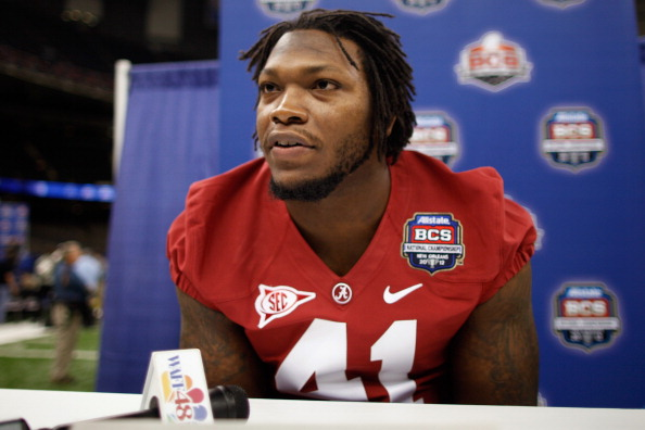 NEW ORLEANS, LA - JANUARY 06:  Courtney Upshaw #41 of the Alabama Crimson Tide talks to the media at the Mercedes-Benz Superdome on January 6, 2012 in New Orleans, Louisiana.  LSU and Alabama will play in the BCS National Championship on January 9th.  (Photo by Chris Graythen/Getty Images)