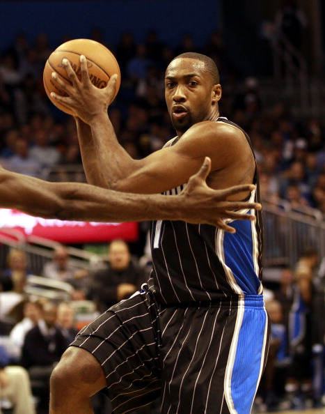 ORLANDO, FL - FEBRUARY 03:Guard Gilbert Arenas #1 of the Orlando Magic drives against the Miami Heat at Amway Arena on February 3, 2011 in Orlando, Florida. NOTE TO USER: User expressly acknowledges and agrees that, by downloading and/or using this Photograph, User is consenting to the terms and conditions of the Getty Images License Agreement. (Photo by Marc Serota/Getty Images)