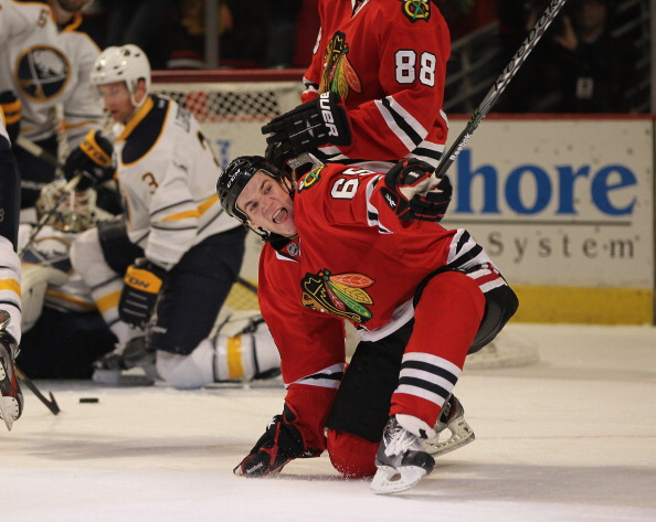 CHICAGO, IL - JANUARY 18:  Andrew Shaw #65 of the Chicago Blackhawks celebrates a first period goal against the Buffalo Sabres at the United Center on January 18, 2012 in Chicago, Illinois.  (Photo by Jonathan Daniel/Getty Images)