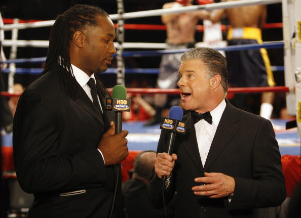 MEMPHIS, TN - MAY 19:  HBO Commentators, Lennox Lewis and Jim Lampley discuss the fight prior to the WBC Eliminator Middleweight fight at FedExForum on May 19, 2007 in Memphis, Tennessee. (Photo by Joe Murphy/Getty Images