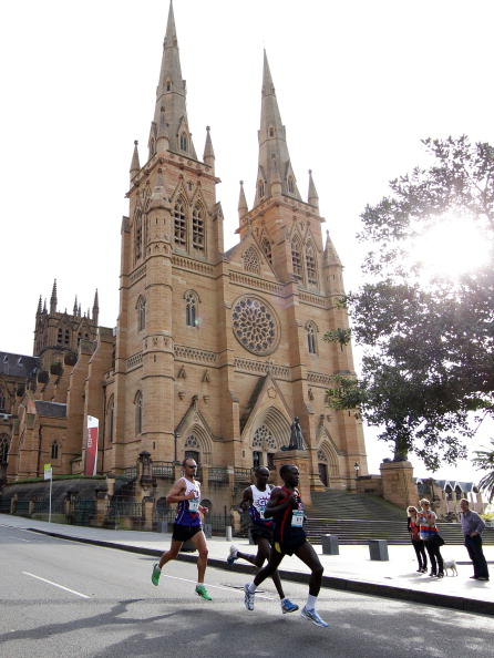 SYDNEY, AUSTRALIA - SEPTEMBER 18:  In this handout image provided by BSRF, competitors run past St Marys Cathedral during the Sydney Running Festival on September 18, 2011 in Sydney, Australia. (Photo by Craig Golding/Blackmores Sydney Running Festival via Getty Images)