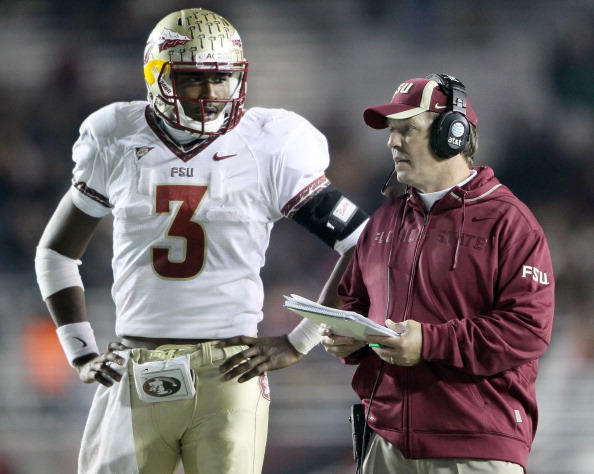 CHESTNUT HILL, MA - NOVEMBER 03:  EJ Manuel #3 and head coach Jimbo Fisher of the Florida State Seminoles discuss a play in the second half against the Boston College Eagles on November 3, 2011 at Alumni Stadium in Chestnut Hill, Massachusetts. The Florida State Seminoles defeated the Boston College Eagles 38-7.  (Photo by Elsa/Getty Images)