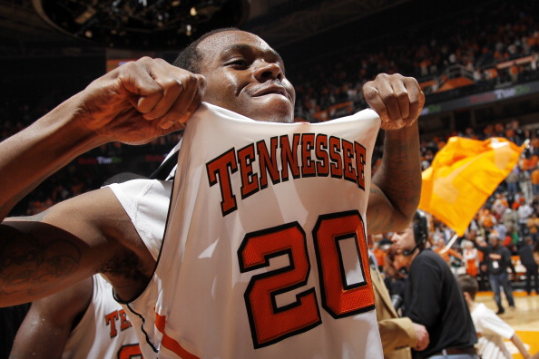 KNOXVILLE, TN - JANUARY 7: Kenny Hall #20 of the Tennessee Volunteers celebrates after the game against the Florida Gators at Thompson-Boling Arena on January 7, 2012 in Knoxville, Tennessee. Tennessee defeated Florida 67-56. (Photo by Joe Robbins/Getty Images)