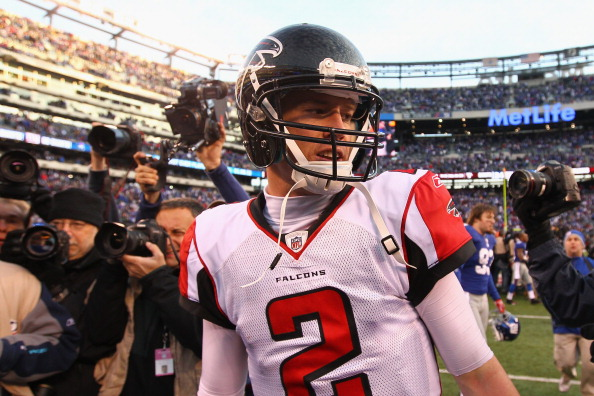 EAST RUTHERFORD, NJ - JANUARY 08:  Matt Ryan #2 of the Atlanta Falcons walks oof of the field dejected after the New York Giants won 24-2 during their NFC Wild Card Playoff game at MetLife Stadium on January 8, 2012 in East Rutherford, New Jersey.  (Photo by Al Bello/Getty Images)