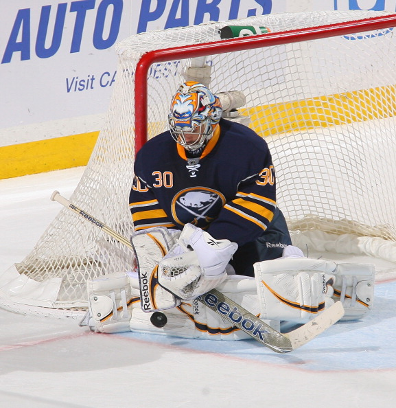BUFFALO, NY - FEBRUARY 08: Ryan Miller #30 of the Buffalo Sabres makes a blocker save against the Boston Bruins  at First Niagara Center on February 8, 2012 in Buffalo, New York. Buffalo won 6-0.  (Photo by Rick Stewart/Getty Images)