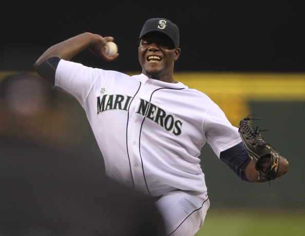 SEATTLE - SEPTEMBER 10:  Starting pitcher Michael Pineda #36 of the Seattle Mariners pitches against the Kansas City Royals at Safeco Field on September 10, 2011 in Seattle, Washington. (Photo by Otto Greule Jr/Getty Images)