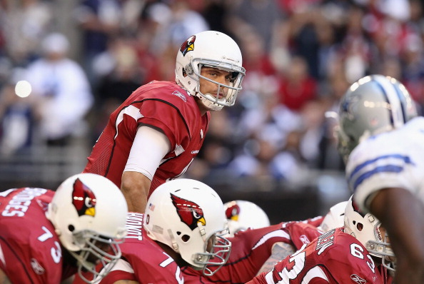 GLENDALE, AZ - DECEMBER 04:  Quarterback Kevin Kolb #4 of the Arizona Cardinals during the NFL game against the Dallas Cowboys at the University of Phoenix Stadium on December 4, 2011 in Glendale, Arizona.  The Cardinals defeated the Cowboys 19-13 in overtime.  (Photo by Christian Petersen/Getty Images)
