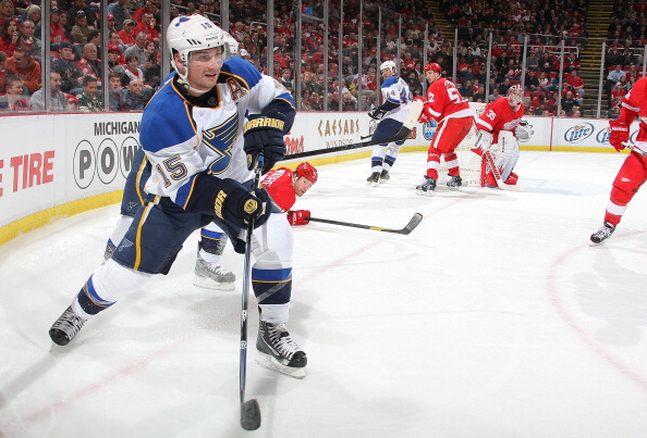 DETROIT, MI - JANUARY 23:  Jamie Langenbrunner #15 of the St. Louis Blues skates against the Detroit Red Wings during their NHL game at Joe Louis Arena on January 23, 2012 in Detroit, Michigan.  (Photo by Dave Sandford/Getty Images)