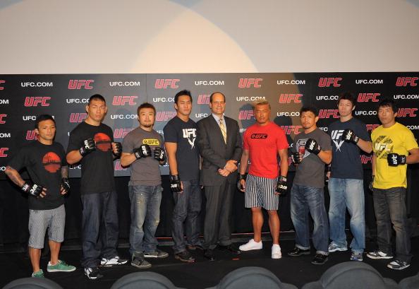 TOKYO, JAPAN - SEPTEMBER 06:  (L-R) Norifumi 'Kid' Yamamoto, Riki Fukuda, Takanori Gomi, Yushin Okami, Head of UFC Asia Marc Fischer, Yoshihiro Akiyama, Michihiro Omigawa, Hatsu Hioki and Takeya Mizugaki attend the UFC press conference at Shinjuku Wald 9 on September 6, 2011 in Tokyo, Japan. The UFC will hold the Japan Tournament on February 26, 2012.  (Photo by Koki Nagahama/Getty Images)