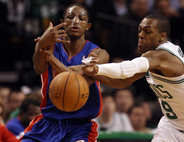 BOSTON, MA - FEBRUARY 15:  Rajon Rondo #9 of the Boston Celtics steals the ball from Brandon Knight #7 of the Detroit Pistons on February 15, 2012 at TD Garden in Boston, Massachusetts. NOTE TO USER: User expressly acknowledges and agrees that, by downloading and or using this photograph, User is consenting to the terms and conditions of the Getty Images License Agreement.  (Photo by Elsa/Getty Images)