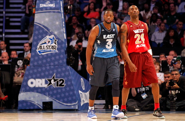 ORLANDO, FL - FEBRUARY 26:  (L-R) Dwyane Wade #3 of the Miami Heat and and the Eastern Conference and Kobe Bryant #24 of the Los Angeles Lakers and the Western Conference stand on court during the 2012 NBA All-Star Game at the Amway Center on February 26, 2012 in Orlando, Florida.  NOTE TO USER: User expressly acknowledges and agrees that, by downloading and or using this photograph, User is consenting to the terms and conditions of the Getty Images License Agreement.  (Photo by Ronald Martinez/Getty Images)