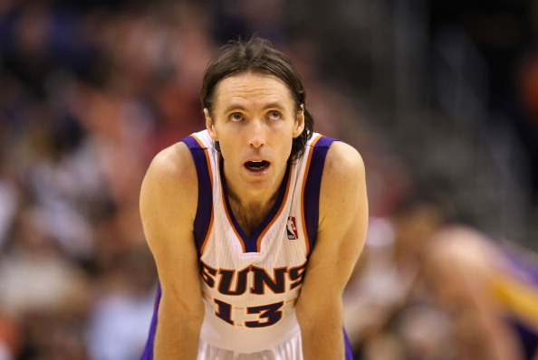 PHOENIX, AZ - FEBRUARY 19:  Steve Nash #13 of the Phoenix Suns during the NBA game against the Los Angeles Lakers at US Airways Center on February 19, 2012 in Phoenix, Arizona.  The Suns defeated the Lakers 102-90. NOTE TO USER: User expressly acknowledges and agrees that, by downloading and or using this photograph, User is consenting to the terms and conditions of the Getty Images License Agreement.  (Photo by Christian Petersen/Getty Images)