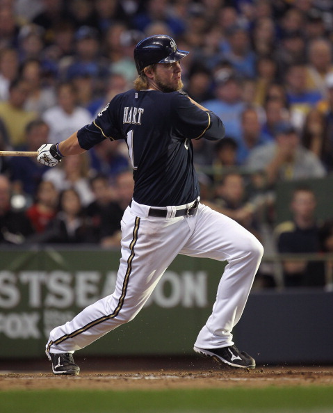 MILWAUKEE, WI - OCTOBER 02:  Cory Hart #1 of the Milwaukee Brewers takes a swing against the Arizona Diamondbacks during Game Two of the National League Division Series at Miller Park on October 2, 2011 in Milwaukee, Wisconsin. The Brewers defeated the Diamondbacks 9-4.  (Photo by Jonathan Daniel/Getty Images)