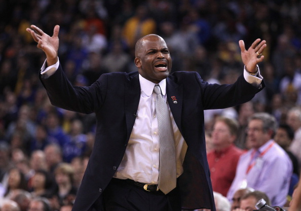 OAKLAND, CA - FEBRUARY 15:  Head coach Nate McMillan of the Portland Trail Blazers argues a call during their game against the Golden State Warriors at Oracle Arena on February 15, 2012 in Oakland, California. NOTE TO USER: User expressly acknowledges and agrees that, by downloading and or using this photograph, User is consenting to the terms and conditions of the Getty Images License Agreement.  (Photo by Ezra Shaw/Getty Images)