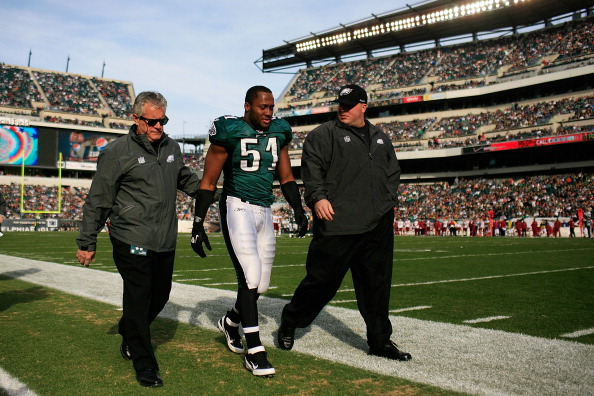 PHILADELPHIA, PA - JANUARY 01:   Jamar Chaney #51 of the Philadelphia Eagles walks off the field during the first half against the Washington Redskins at Lincoln Financial Field on January 1, 2012 in Philadelphia, Pennsylvania.  (Photo by Patrick McDermott/Getty Images)