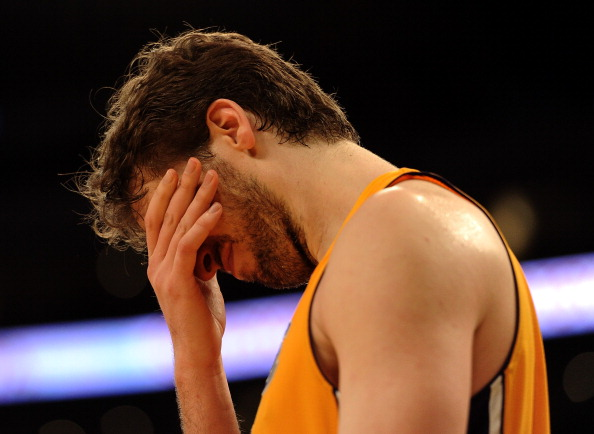 LOS ANGELES, CA - FEBRUARY 20:  Pau Gasol #16 of the Los Angeles Lakers reacts after a foul during the game against the Portland Trail Blazers at Staples Center on February 20, 2012 in Los Angeles, California.  NOTE TO USER: User expressly acknowledges and agrees that, by downloading and or using this photograph, User is consenting to the terms and conditions of the Getty Images License Agreement.  (Photo by Harry How/Getty Images)