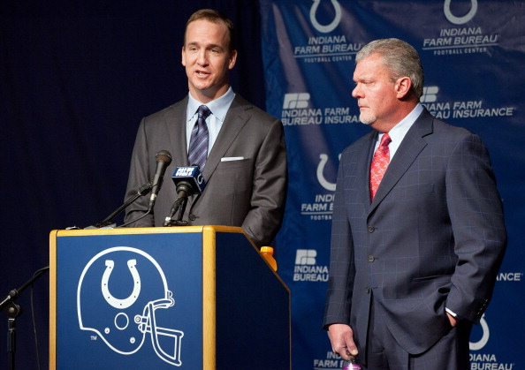 INDIANAPOLIS, IN - MARCH 07:  Peyton Manning (L) speaks as Indianapolis Colts owner Jim Irsay listens during a press conference announcing that the Colts will release of Manning at Indiana Farm Bureau Football Center on March 7, 2012 in Indianapolis, Indiana.  (Photo by Joey Foley/Getty Images)