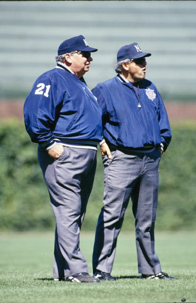 CHICAGO - AUGUST 5: (L-R) Umpires Harry Wendelstedt Sr. and Larry Vanover stand on the field before the MLB game between the San Diego Padres and Chicago Cubs at Wrigley Field on August 5, 1994 in Chicago, Illinois. ( Photo by: Jonathan Daniel/Getty Images)