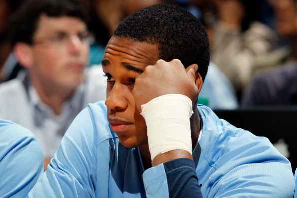 ATLANTA, GA - MARCH 11:  Injured John Henson #31 of the North Carolina Tar Heels looks on from the bench against the Florida State Seminoles during the Final Game of the 2012 ACC Men's Basketball Conference Tournament at Philips Arena on March 11, 2012 in Atlanta, Georgia.  (Photo by Kevin C. Cox/Getty Images)