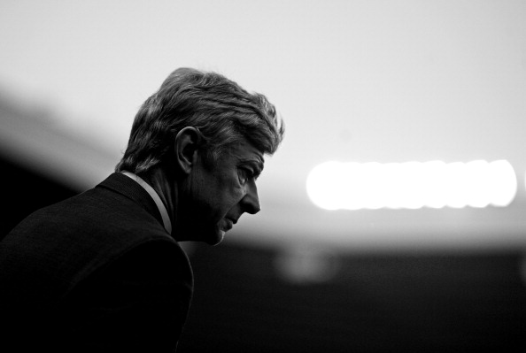 SUNDERLAND, ENGLAND - FEBRUARY 18:  (EDITORS NOTE: THIS BLACK AND WHITE IMAGE WAS CREATED FROM ORIGINAL COLOUR FILE)  Arsenal Manager Arsene Wenger looks on prior to the FA Cup Fifth Round match between Sunderland and Arsenal at The Stadium of Light on February 18, 2012 in Sunderland, England.  (Photo by Laurence Griffiths/Getty Images)