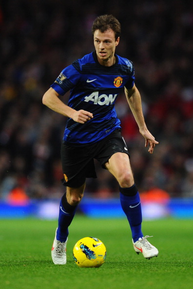 LONDON, ENGLAND - JANUARY 22:  Jonny Evans of Manchester United in action during the Barclays Premier League match between Arsenal and Manchester United at Emirates Stadium on January 22, 2012 in London, England.  (Photo by Mike Hewitt/Getty Images)