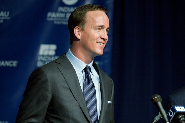 INDIANAPOLIS, IN - MARCH 07:  Peyton Manning speaks during a press conference announcing his release from the Indianapolis Colts at Indiana Farm Bureau Football Center on March 7, 2012 in Indianapolis, Indiana.  (Photo by Joey Foley/Getty Images)