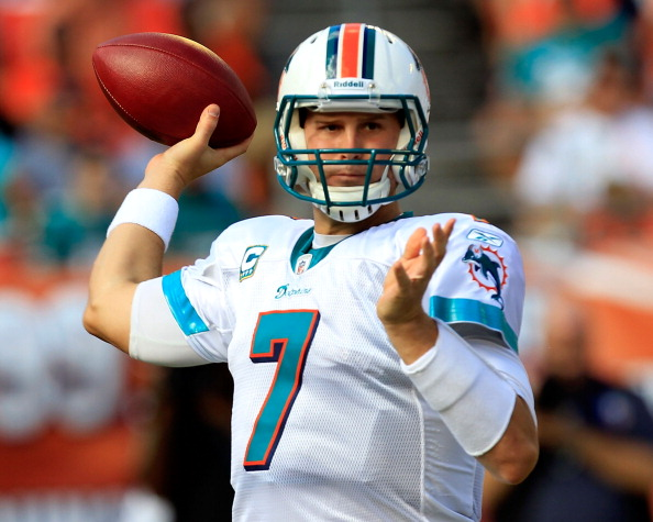 MIAMI GARDENS, FL - SEPTEMBER 18:  Miami Dolphins quarterback Chad Henne #7 attempts a pass during a game against the Houston Texans at Sun Life Stadium on September 18, 2011 in Miami Gardens, Florida.  (Photo by Sam Greenwood/Getty Images)