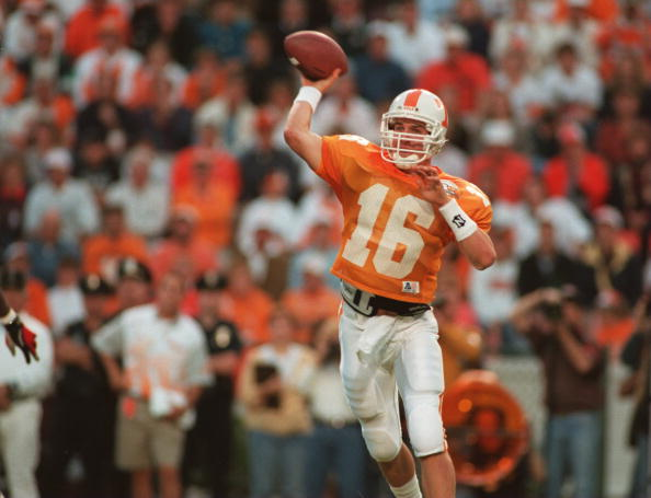 15 Oct 1994:  Quarterback Peyton Manning of the University of Tennessee sets to throw a pass during the Volunteers 17-13 loss to the University of Alabama. Mandatory Credit: Rick Stewart/ALLSPORT