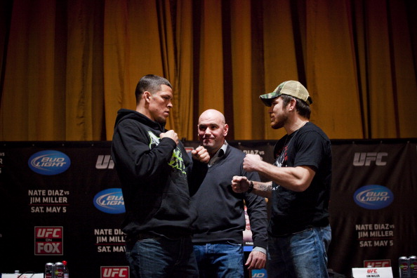 NEW YORK - MARCH 06:   UFC lightweights Nate Diaz (L) and Jim Miller (R) pose with UFC president Dana White at a press conference at Radio City Music Hall on March 06, 2012 in New York City.  UFC announced that their third event on the FOX network will take place on Saturday, May 5 from the IZOD Center in East Rutherford, N.J.. (Photo by Michael Nagle/Getty Images)