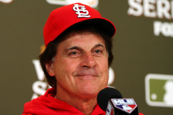 ST LOUIS, MO - OCTOBER 25:  Manager Tony La Russa talks to the media ahead of Game 6 of the 2011 MLB World Series between the Texas Rangers and the St. Louis Cardinals at Busch Stadium on October 25, 2011 in St Louis, Missouri.  (Photo by Dilip Vishwanat/Getty Images)