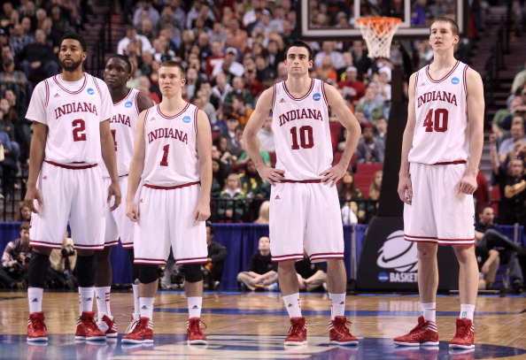 PORTLAND, OR - MARCH 17:  (C) Will Sheehey #10 of the Indiana Hoosiers stands with teammates Christian Watford #2, Victor Oladipo #4, Jordan Hulls #1 and Cody Zeller #40 after Sheehey was called for a flagrant foul in the first half against the Virginia Commonwealth Rams during the third round of the 2012 NCAA Men's Basketball Tournament at the Rose Garden Arena on March 17, 2012 in Portland, Oregon.  (Photo by Jed Jacobsohn/Getty Images)