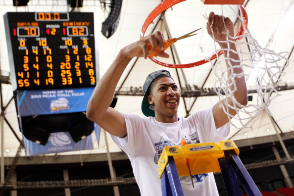 ATLANTA, GA - MARCH 25:  Anthony Davis #23 of the Kentucky Wildcats cuts down the net after they defeated the Baylor Bears 82 to 70 during the 2012 NCAA Men's Basketball South Regional Final at the Georgia Dome on March 25, 2012 in Atlanta, Georgia.  (Photo by Streeter Lecka/Getty Images)
