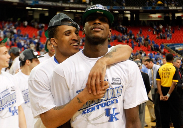 ATLANTA, GA - MARCH 25:  Michael Kidd-Gilchrist #14 and Twany Beckham #10 of the Kentucky Wildcats celebrate their 82 to 70 win over the Baylor Bears during the 2012 NCAA Men's Basketball South Regional Final at the Georgia Dome on March 25, 2012 in Atlanta, Georgia.  (Photo by Streeter Lecka/Getty Images)