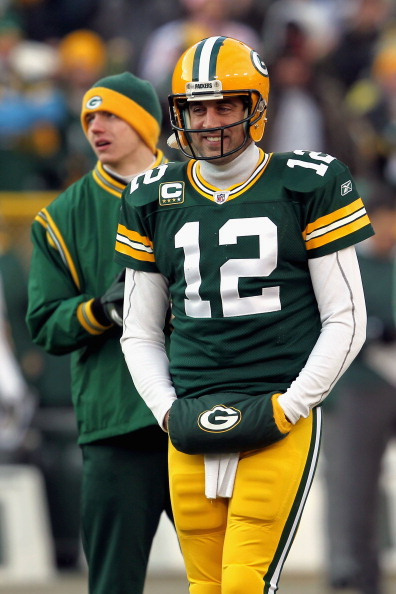 GREEN BAY, WI - JANUARY 15:  Aaron Rodgers #12 of the Green Bay Packers looks on against the New York Giants during their NFC Divisional playoff game at Lambeau Field on January 15, 2012 in Green Bay, Wisconsin.  (Photo by Jonathan Daniel/Getty Images)
