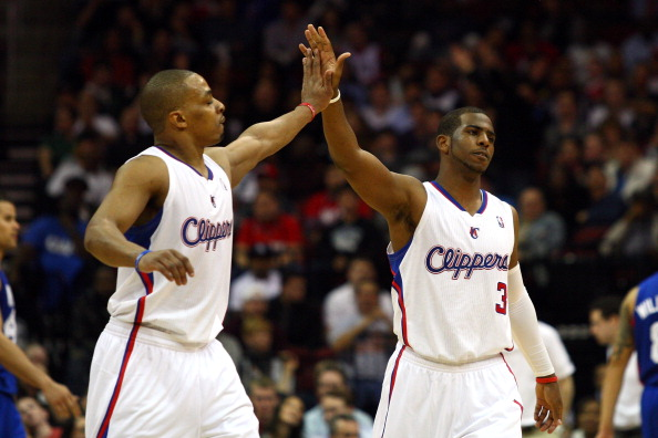 NEWARK, NJ - MARCH 07:  Chris Paul #3 (R) and Randy Foye #4 of the Los Angeles Clippers celebrate a play against the New Jersey Nets at Prudential Center on March 7, 2012 in Newark, New Jersey. NOTE TO USER: User expressly acknowledges and agrees that, by downloading and or using this photograph, User is consenting to the terms and conditions of the Getty Images License Agreement.  (Photo by Chris Chambers/Getty Images)