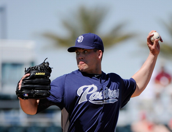 GOODYEAR, AZ - MARCH 14:  Starting pitcher Clayton Richard #33 of the San Diego Padres throws a pitch against the Cincinnati Reds  during the first inning of a spring training baseball game at Goodyear Ballpark on March 14, 2012 in Goodyear, Arizona. (Photo by Kevork Djansezian/Getty Images)