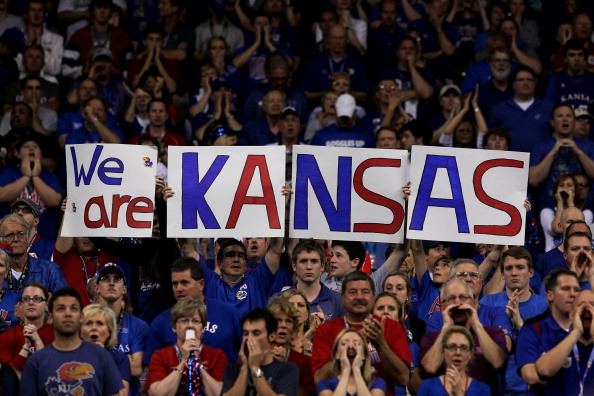 NEW ORLEANS, LA - APRIL 02:  Kansas Jayhawks fans hold up a sign during the National Championship Game of the 2012 NCAA Division I Men's Basketball Tournament at the Mercedes-Benz Superdome on April 2, 2012 in New Orleans, Louisiana.  (Photo by Jeff Gross/Getty Images)