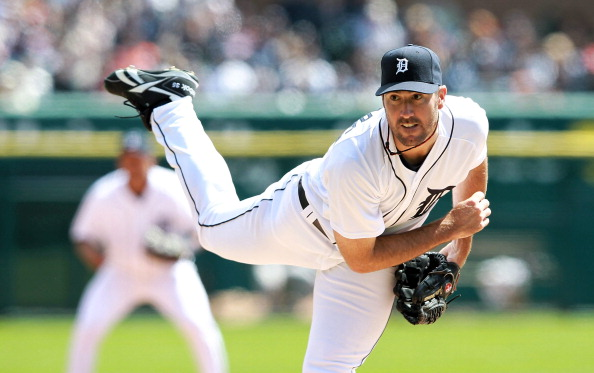 DETROIT, MI - APRIL 05:  Justin Verlander #35 of the Detroit Tigers pitches in the sixth inning on opening day against the Boston Red Sox at Comerica Park on April 5, 2012 in Detroit, Michigan. The Tigers defeated the Red Sox 3-2. (Photo by Leon Halip/Getty Images)