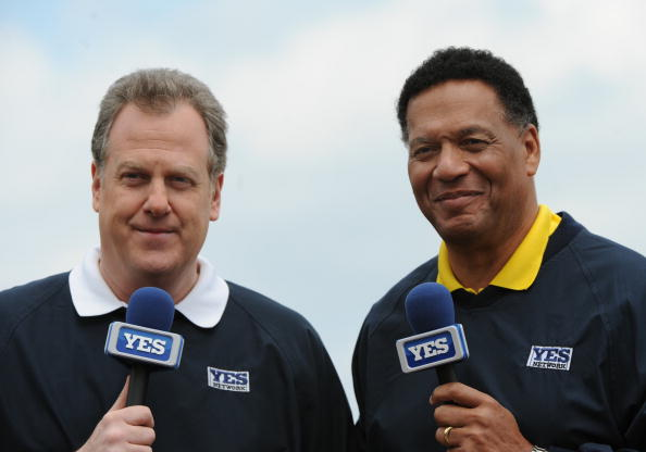 TAMPA, FL - MARCH 3: Commentators Michael Kay (left) and Ken Singleton during a pre-game show for the YES Network as the New York Yankees play against the Pittsburgh Pirates on March 3, 2010 at the George M. Steinbrenner  Field in Tampa, Florida. (Photo by Al Messerschmidt/Getty Images)
