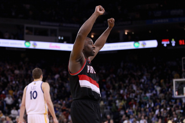 OAKLAND, CA - FEBRUARY 15:  Raymond Felton #5 of the Portland Trail Blazers celebrates after they defeated the Golden State Warriors at Oracle Arena on February 15, 2012 in Oakland, California. NOTE TO USER: User expressly acknowledges and agrees that, by downloading and or using this photograph, User is consenting to the terms and conditions of the Getty Images License Agreement.  (Photo by Ezra Shaw/Getty Images)