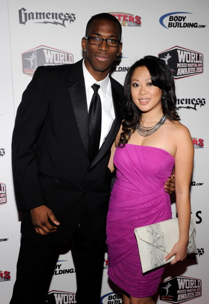 LAS VEGAS, NV - DECEMBER 01:  Mixed martial artist Anthony Njokuani (L) and Cindy Nguyen arrive at the third annual Fighters Only World Mixed Martial Arts Awards 2010 at the Palms Casino Resort December 1, 2010 in Las Vegas, Nevada.  (Photo by Ethan Miller/Getty Images)