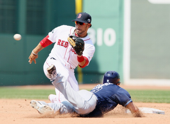 BOSTON, MA - APRIL 16:  Mike Aviles #3 of the Boston Red Sox picks off Ben Zobrist #18 of the Tampa Bay Rays for the out on April 16, 2012 at Fenway Park in Boston, Massachusetts. The Tampa Bay Rays defeated the Boston Red Sox 1-0.  (Photo by Elsa/Getty Images)