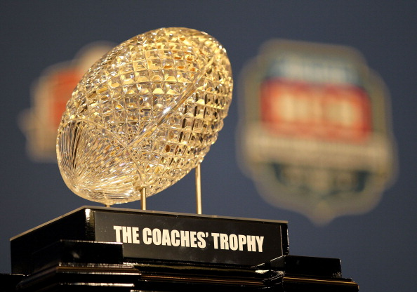 NEW ORLEANS, LA - JANUARY 10:   The Coaches' Trophy, awarded to head coach Nick Saban of the Alabama Crimson Tide after defeating Louisiana State University Tigers in the 2012 Allstate BCS National Championship Game during a press conference on January 10, 2012 in New Orleans, Louisiana.  (Photo by Andy Lyons/Getty Images)