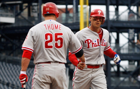 PITTSBURGH, PA - APRIL 08:  Hunter Pence #3 of the Philadelphia Phillies is congratulated by teammate Jim Thome #25 after hitting a solo home run in the 4th inning against the Pittsburgh Pirates during the game on April 8, 2012 at PNC Park in Pittsburgh, Pennsylvania.  (Photo by Jared Wickerham/Getty Images)
