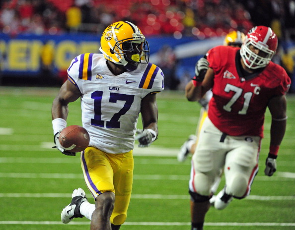 ATLANTA, GA - DECEMBER 3: Morris Claiborne #17 of the LSU Tigers returns an interception for a touchdown against the Georgia Bulldogs during the SEC Championship Game at the Georgia Dome on December 3, 2011 in Atlanta, Georgia.  (Photo by Scott Cunningham/Getty Images)